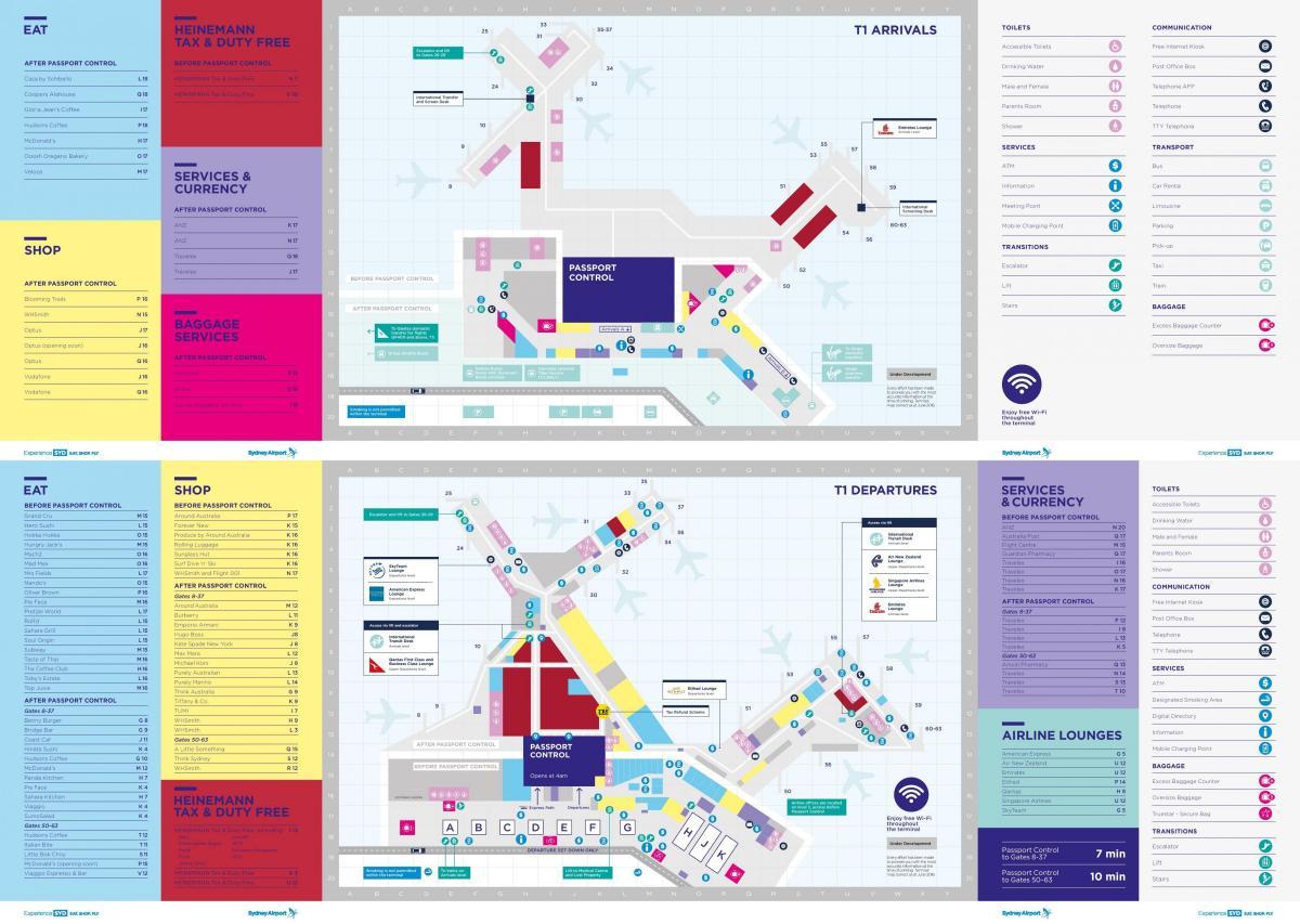 Laeroporto di Sydney mappa t1 Mappa di sydney aeroporto terminal